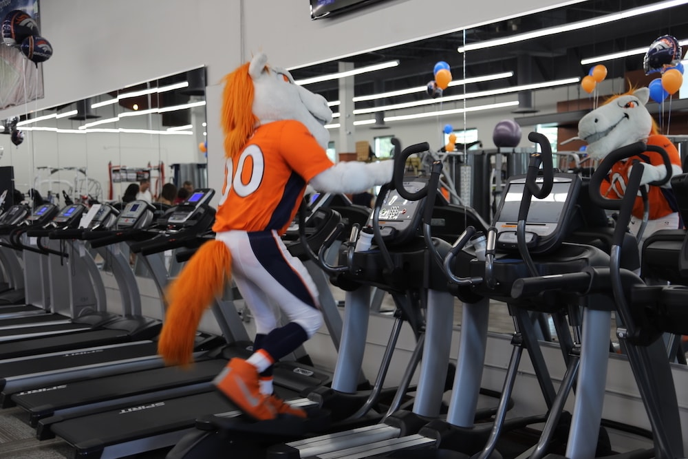 Broncos Mascot Miles on TRUE Fitness Elliptical at Fitness Gallery