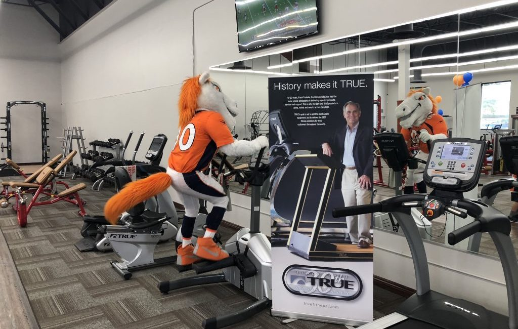 Denver Broncos Miles Mascot at Fitness Gallery