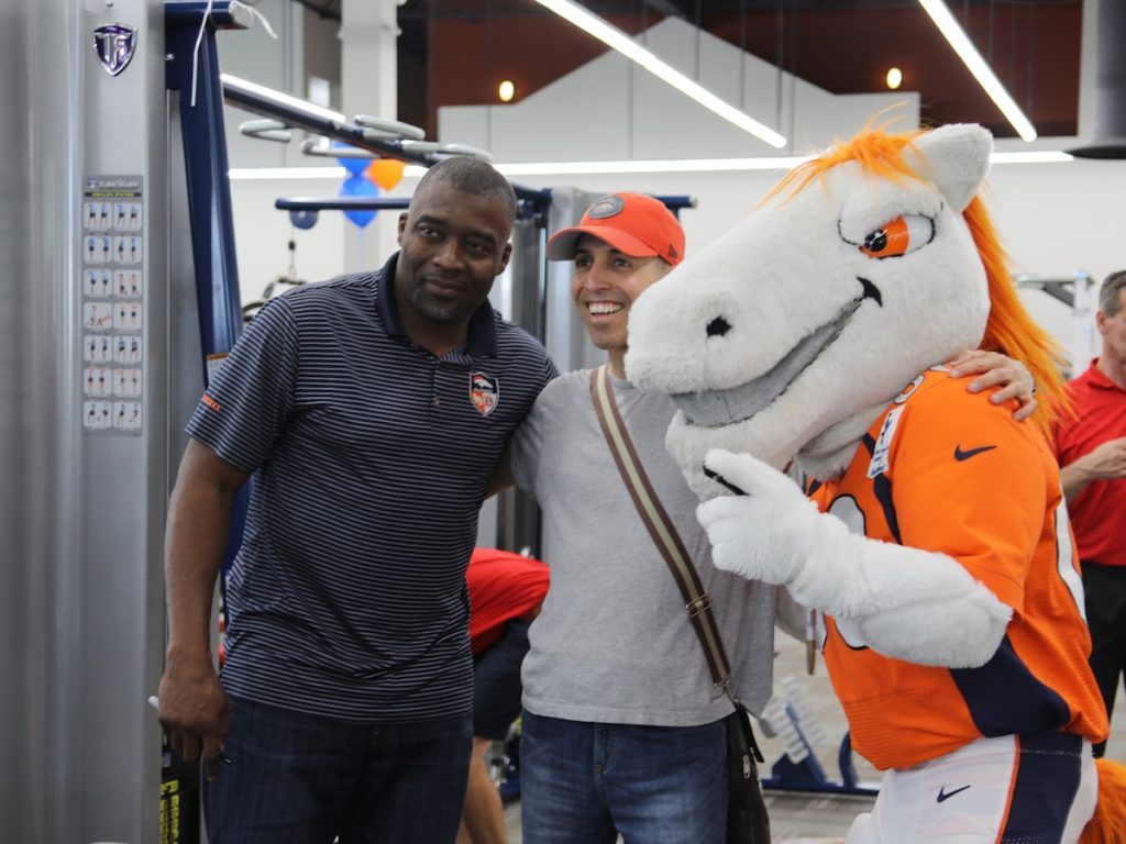 Rod Smith and Miles of the Denver Broncos at Fitness Gallery